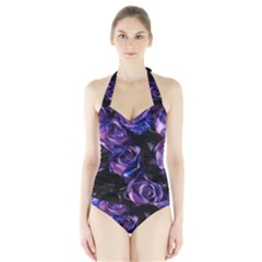 Purple Glitter Roses Valentine Love Women s Halter One Piece Swimsuit by yoursparklingshop