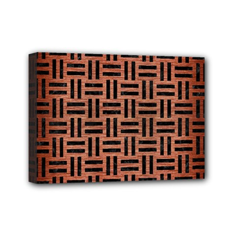 Woven1 Black Marble & Copper Brushed Metal (r) Mini Canvas 7  X 5  (stretched) by trendistuff