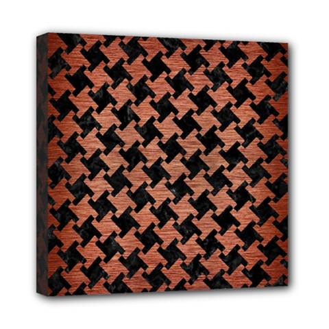 Houndstooth2 Black Marble & Copper Brushed Metal Mini Canvas 8  X 8  (stretched) by trendistuff