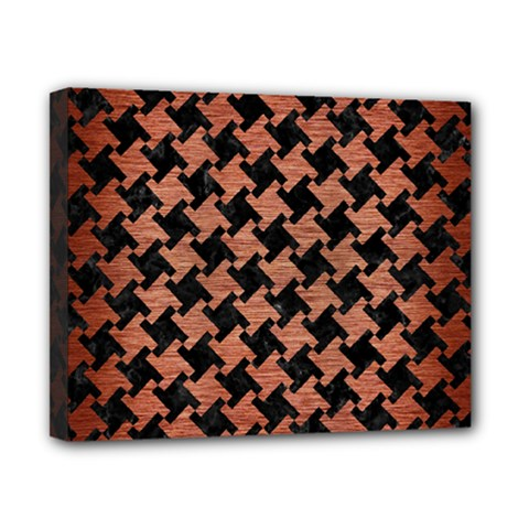 Houndstooth2 Black Marble & Copper Brushed Metal Canvas 10  X 8  (stretched) by trendistuff