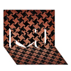 Houndstooth2 Black Marble & Copper Brushed Metal I Love You 3d Greeting Card (7x5) by trendistuff