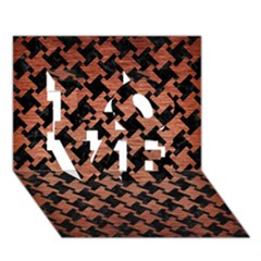 Houndstooth2 Black Marble & Copper Brushed Metal Love 3d Greeting Card (7x5) by trendistuff