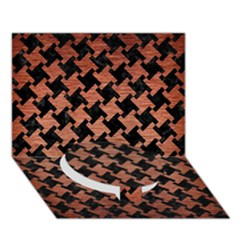 Houndstooth2 Black Marble & Copper Brushed Metal Circle Bottom 3d Greeting Card (7x5) by trendistuff