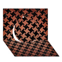 Houndstooth2 Black Marble & Copper Brushed Metal Circle 3d Greeting Card (7x5) by trendistuff