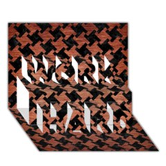 Houndstooth2 Black Marble & Copper Brushed Metal Work Hard 3d Greeting Card (7x5) by trendistuff