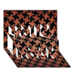 Houndstooth2 Black Marble & Copper Brushed Metal You Rock 3d Greeting Card (7x5)
