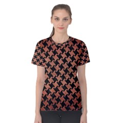 Houndstooth2 Black Marble & Copper Brushed Metal Women s Cotton Tee by trendistuff
