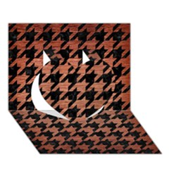 Houndstooth1 Black Marble & Copper Brushed Metal Heart 3d Greeting Card (7x5) by trendistuff