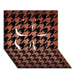 Houndstooth1 Black Marble & Copper Brushed Metal Clover 3d Greeting Card (7x5) by trendistuff