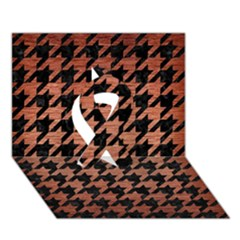 Houndstooth1 Black Marble & Copper Brushed Metal Ribbon 3d Greeting Card (7x5) by trendistuff
