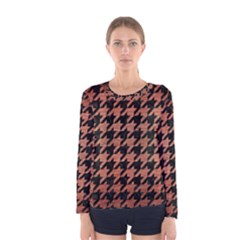 Houndstooth1 Black Marble & Copper Brushed Metal Women s Long Sleeve Tee by trendistuff