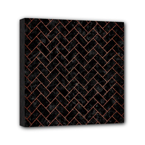 Brick2 Black Marble & Copper Brushed Metal Mini Canvas 6  X 6  (stretched) by trendistuff