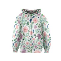Hand Painted Spring Flourishes Flowers Pattern Kids  Zipper Hoodie by TastefulDesigns