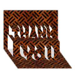 Woven2 Black Marble & Brown Burl Wood (r) Thank You 3d Greeting Card (7x5) by trendistuff