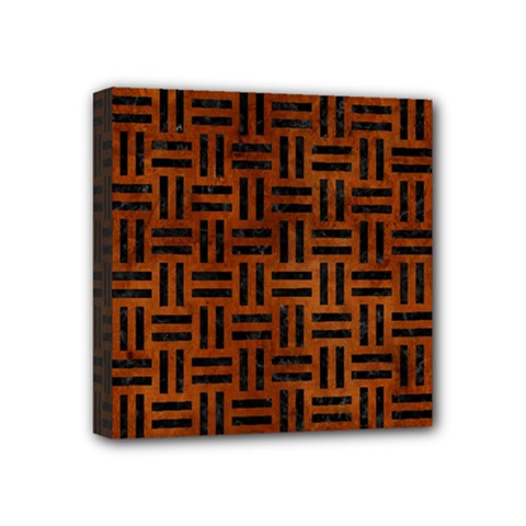 Woven1 Black Marble & Brown Burl Wood (r) Mini Canvas 4  X 4  (stretched) by trendistuff