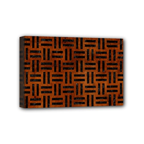Woven1 Black Marble & Brown Burl Wood (r) Mini Canvas 6  X 4  (stretched) by trendistuff