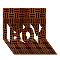 Woven1 Black Marble & Brown Burl Wood (r) Boy 3d Greeting Card (7x5)