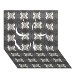 Black White Gray Crosses Clover 3d Greeting Card (7x5)  by yoursparklingshop