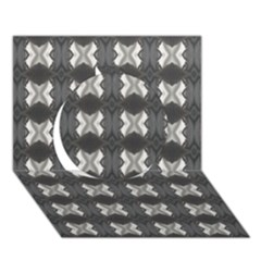 Black White Gray Crosses Circle 3d Greeting Card (7x5)  by yoursparklingshop