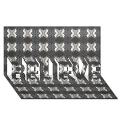 Black White Gray Crosses Believe 3d Greeting Card (8x4)  by yoursparklingshop