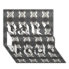 Black White Gray Crosses You Rock 3d Greeting Card (7x5)  by yoursparklingshop