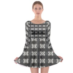 Black White Gray Crosses Long Sleeve Skater Dress by yoursparklingshop