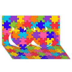 Funny Colorful Jigsaw Puzzle Twin Hearts 3d Greeting Card (8x4)  by yoursparklingshop