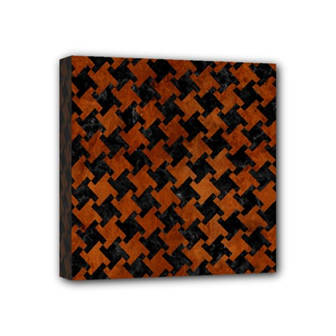 Houndstooth2 Black Marble & Brown Burl Wood Mini Canvas 4  X 4  (stretched) by trendistuff