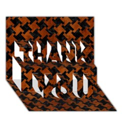 Houndstooth2 Black Marble & Brown Burl Wood Thank You 3d Greeting Card (7x5) by trendistuff