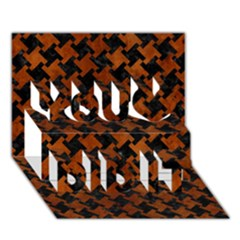 Houndstooth2 Black Marble & Brown Burl Wood You Did It 3d Greeting Card (7x5) by trendistuff