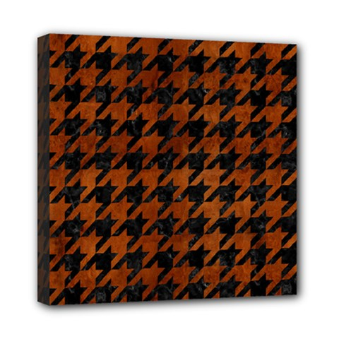 Houndstooth1 Black Marble & Brown Burl Wood Mini Canvas 8  X 8  (stretched) by trendistuff
