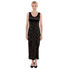 Brick2 Black Marble & Brown Burl Wood Fitted Maxi Dress by trendistuff