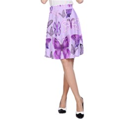 Purple Awareness Butterflies A Line Skirt by FunWithFibro
