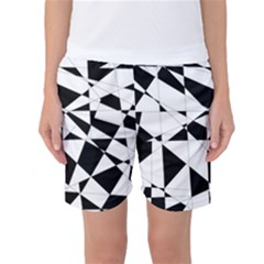 Shattered Life In Black & White Women s Basketball Shorts