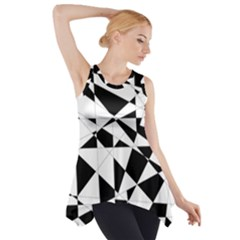 Shattered Life In Black & White Side Drop Tank Tunic