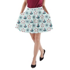 Nautical Elements Pattern A Line Pocket Skirt