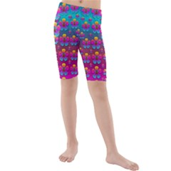 Freedom Peace Flowers Raining In Rainbows Kid s Mid Length Swim Shorts by pepitasart