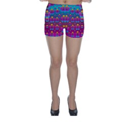 Freedom Peace Flowers Raining In Rainbows Skinny Shorts by pepitasart