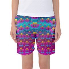 Freedom Peace Flowers Raining In Rainbows Women s Basketball Shorts by pepitasart
