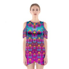 Freedom Peace Flowers Raining In Rainbows Cutout Shoulder Dress