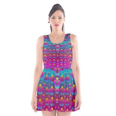 Freedom Peace Flowers Raining In Rainbows Scoop Neck Skater Dress by pepitasart