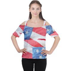 Folded American Flag Women s Cutout Shoulder Tee by StuffOrSomething