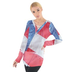 Folded American Flag Women s Tie Up Tee by StuffOrSomething