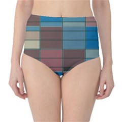 Rectangles In Retro Colors Pattern                      High-waist Bikini Bottoms by LalyLauraFLM