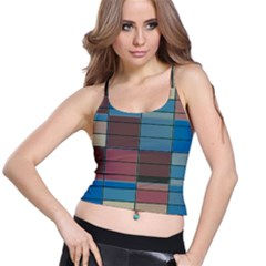 Rectangles In Retro Colors Pattern                      Women s Spaghetti Strap Bra Top by LalyLauraFLM