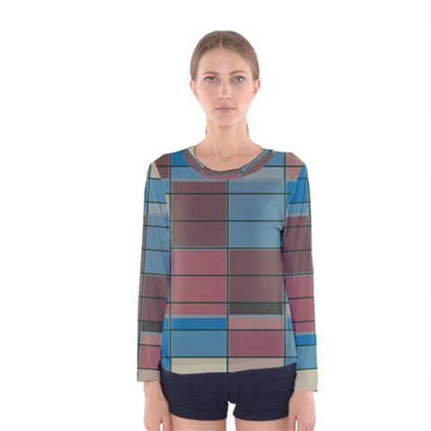 Rectangles In Retro Colors Pattern                      Women Long Sleeve T-shirt by LalyLauraFLM
