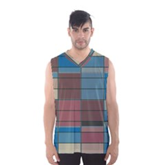 Rectangles In Retro Colors Pattern                      Men s Basketball Tank Top