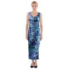 Splashes! Fitted Maxi Dress by SugaPlumsEmporium