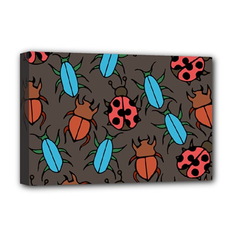 Beetles And Ladybug Pattern Bug Lover  Deluxe Canvas 18  X 12   by BubbSnugg