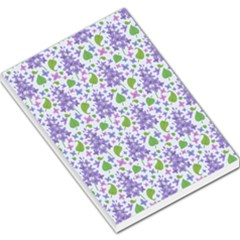 Liliac Flowers And Leaves Pattern Large Memo Pads by TastefulDesigns